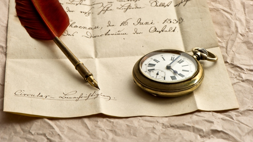 clock_letter_paper_ink_pen_feather_80792_3840x2160